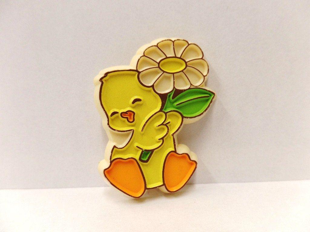 Vintage Hallmark Easter Lapel Pin 1982 NOS Duckling in Rain Suit