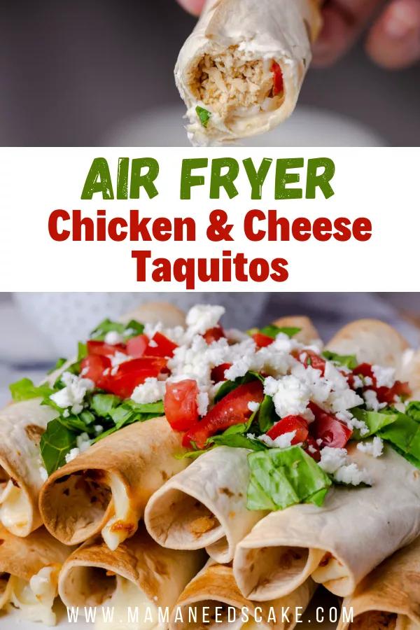 Air Fryer Chicken & Cheese Taquitos Recipe Appetizer