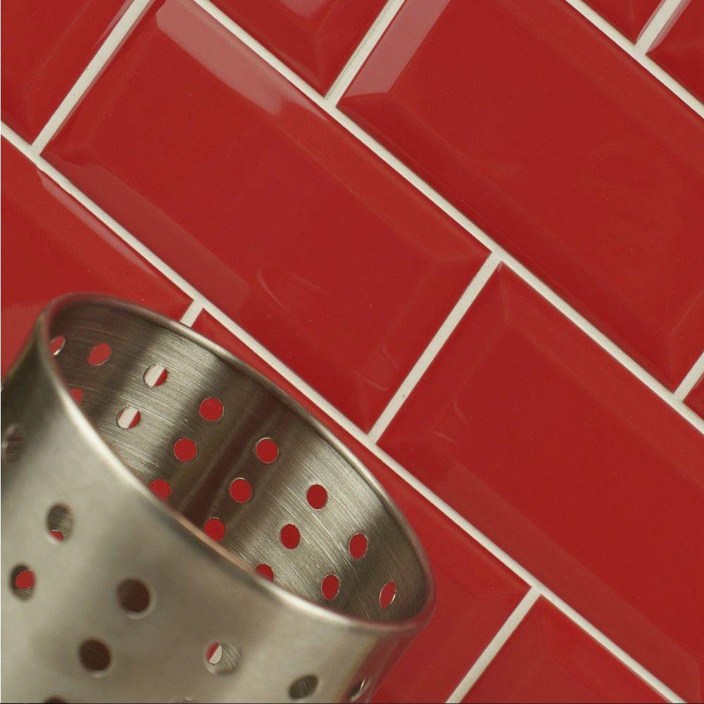 Metro Red Kitchen Wall Tiles