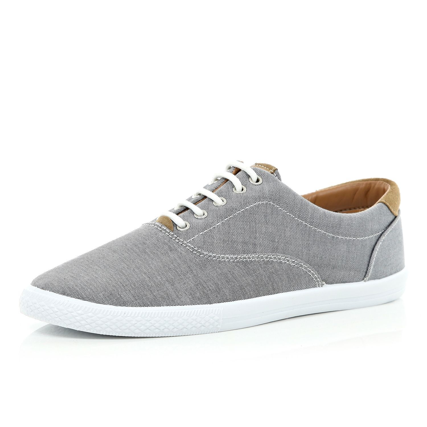 Grey Canvas Sneakers from River Island