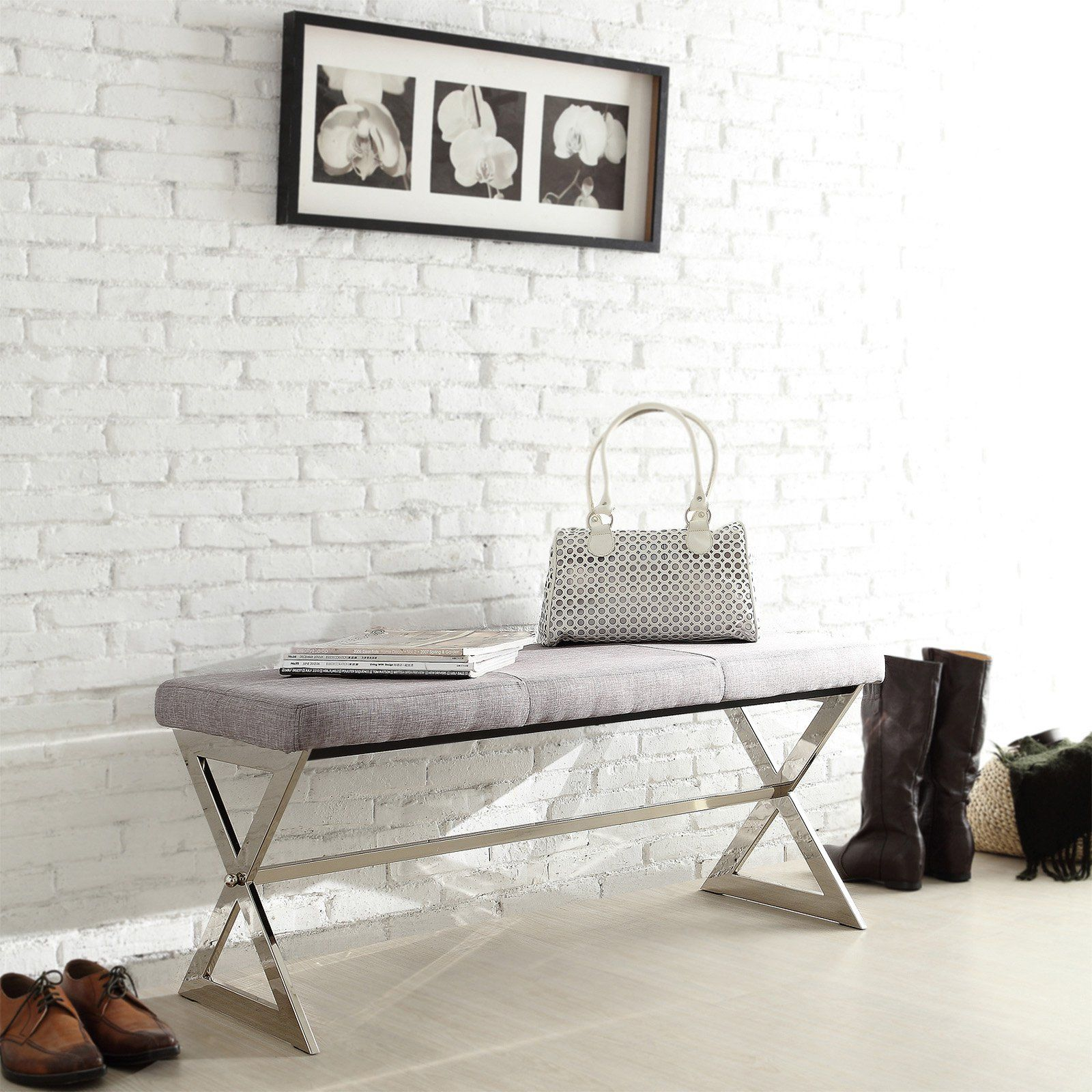 Inspire Q 40 in. X-Base Gray Linen Bench - Sweet and simple,