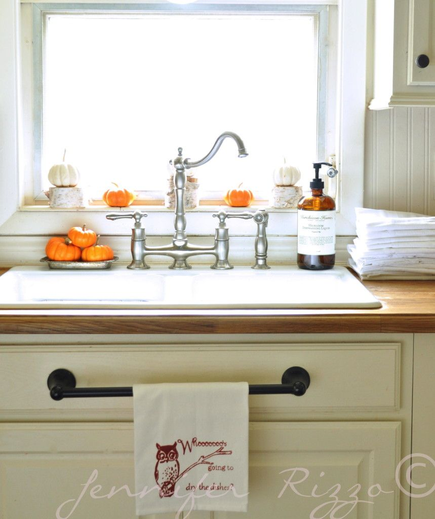 kitchen towel bars mosaic tile welcome to my fall home the finding tour bloggers best use a hanger on that false drawer for your dish towels in easy reach
