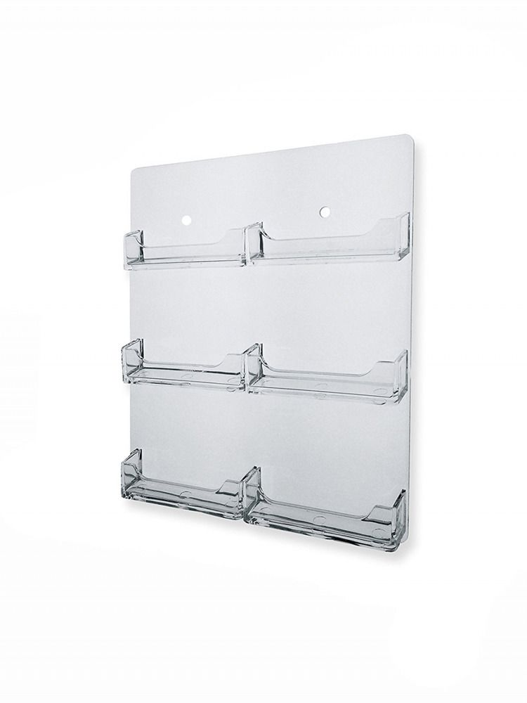 6 pocket wall mount business card holder hanging rack clear acrylic 6 pocket wall mount business card holder hanging rack clear acrylic backing marketingliteraturedisplays reheart Gallery