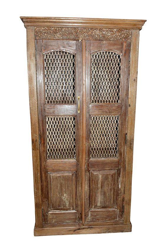 Antique Brown Armoire Wardrobe With Open Iron Jali Design ...