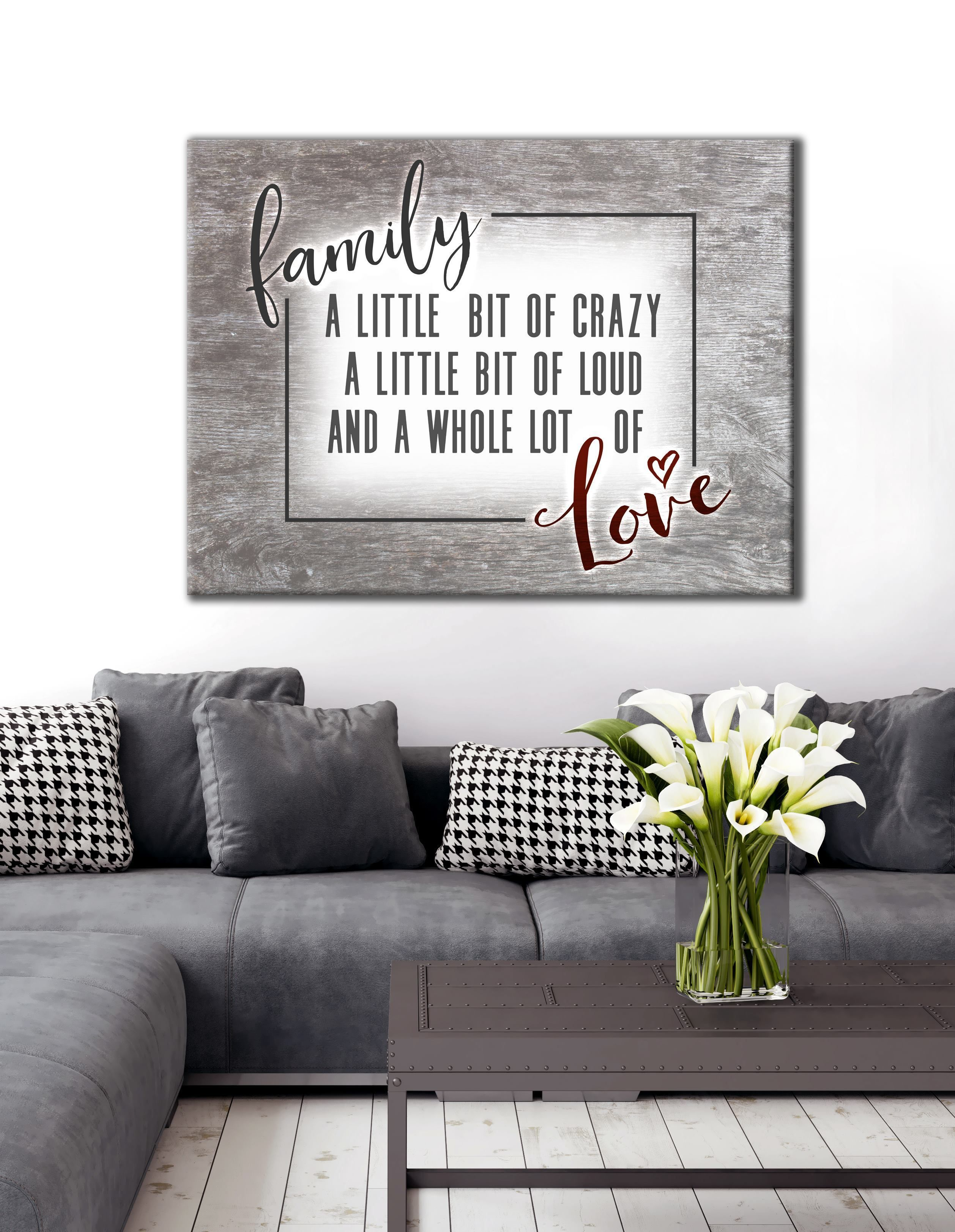 Family Wall Art Funny Crazy Family Saying Wood Frame Ready To Hang Family Wall Art Family Wall Canvas Art Wall Decor