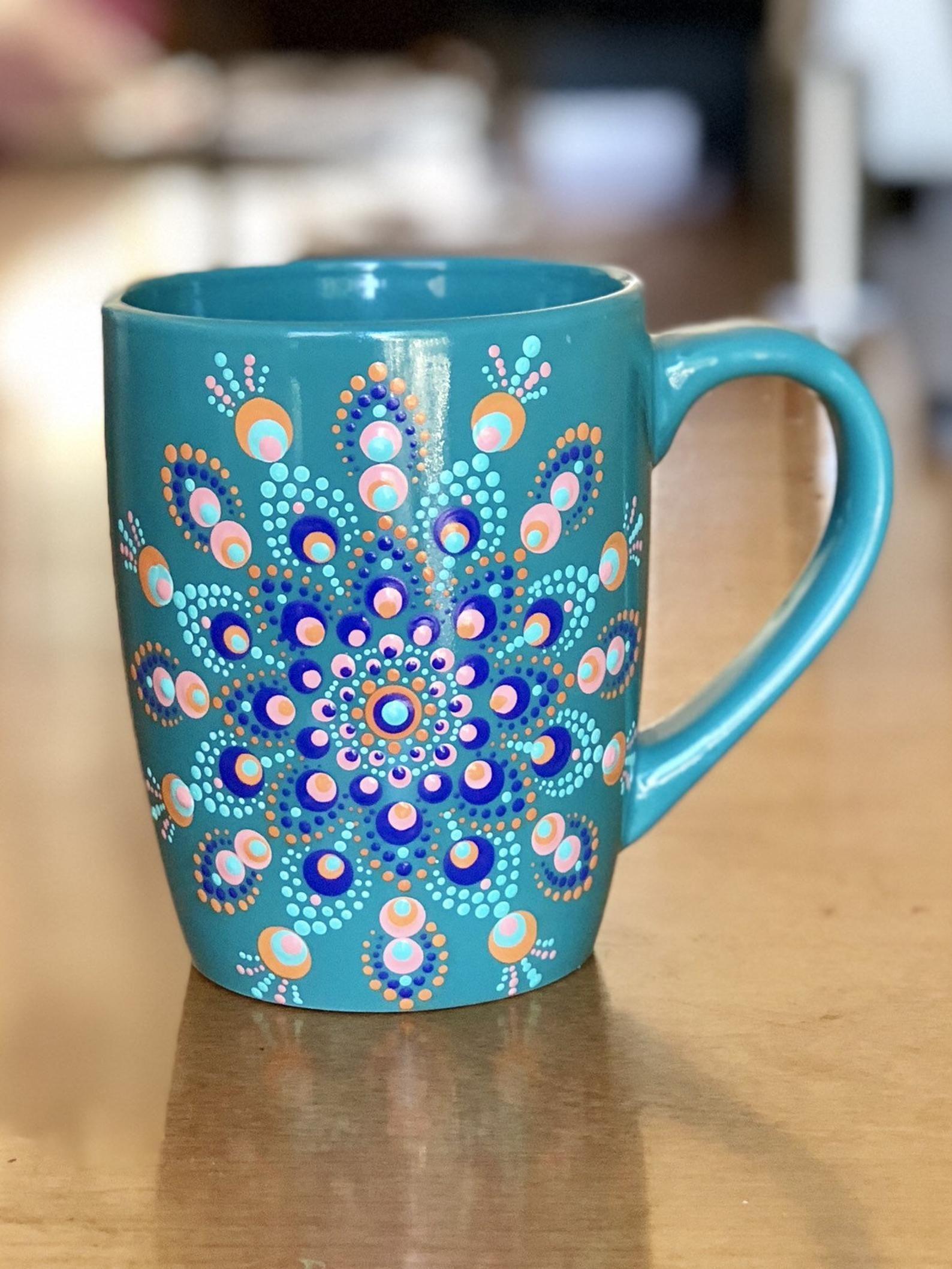 Coffee Cup Mug Dot Mandala 12 Oz Hand Painted Teal Blue Etsy Painted Mugs Mugs Painting Glassware