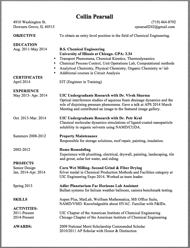 Chemical Engineering Resume Sample Collin Pearsall 4910 Washington St Engineering Resume Resume Examples Chemical Engineering