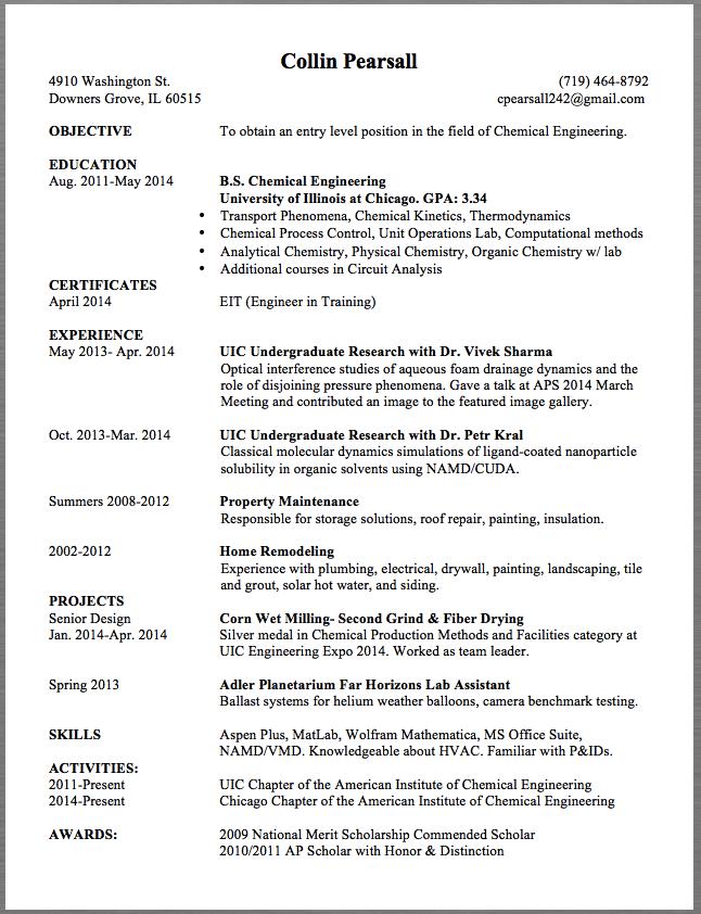 chemical engineering resume sample collin pearsall 4910 washington
