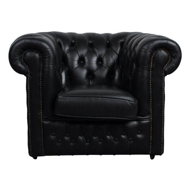 Vintage Black Leather English Chesterfield Chair Chesterfield