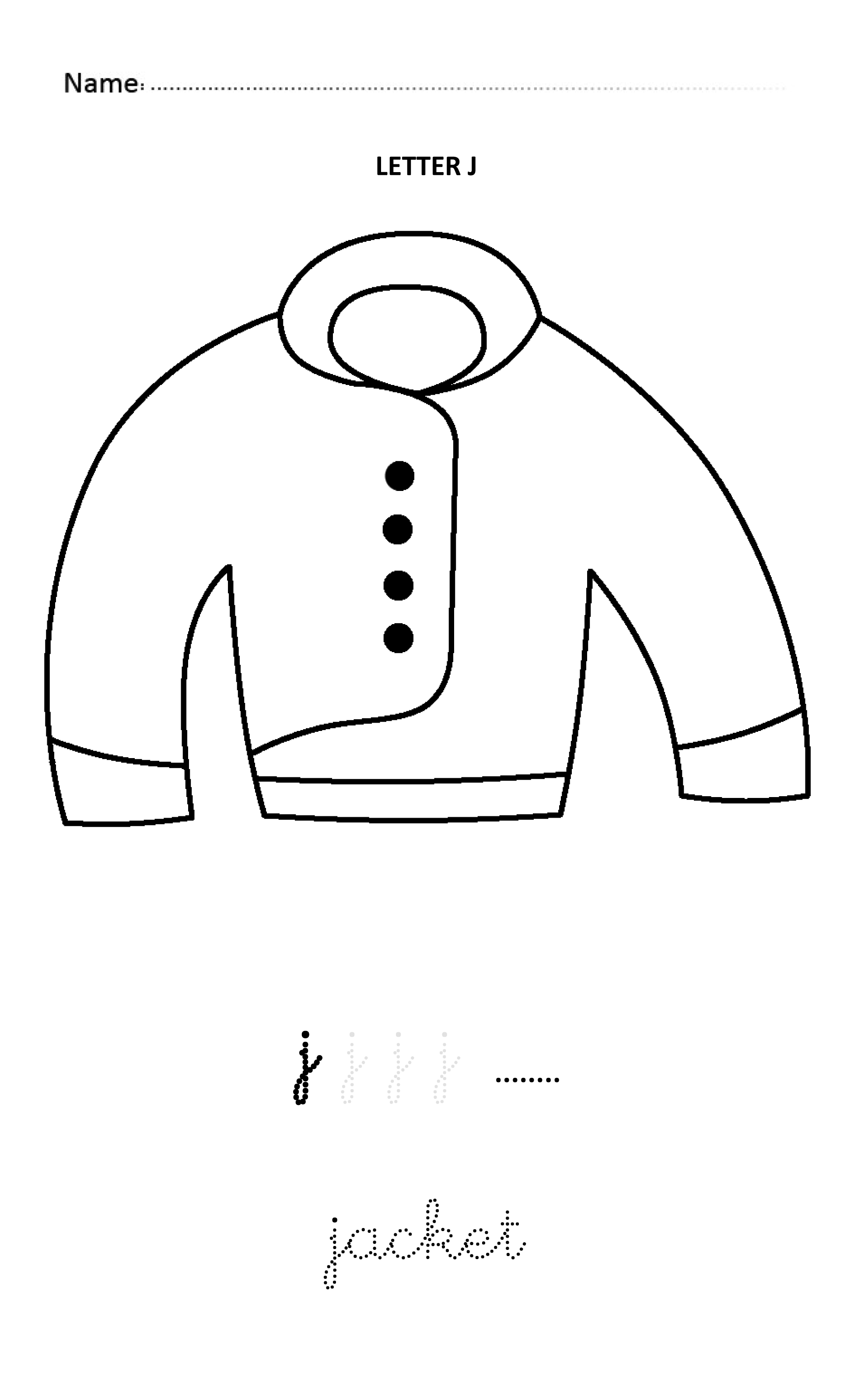 Letter J Easy And Visual Colouring Worksheet For Early