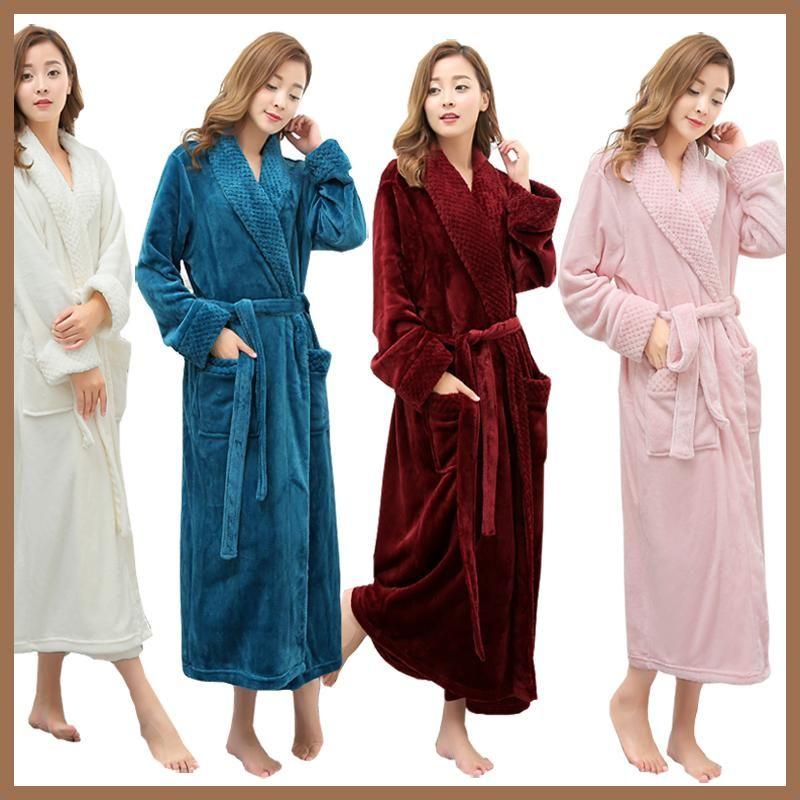 Hot Selling Women Super Soft Winter Warm Long Bath Robe Lovers ...