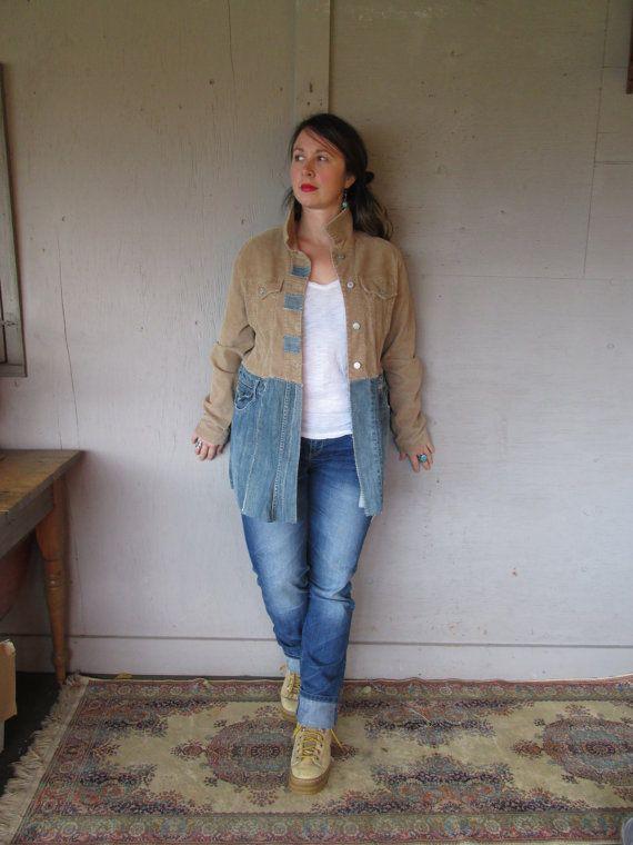 Upcycled Jacket Denim Clothing Funky Coat Boro Inspired Jacket L X