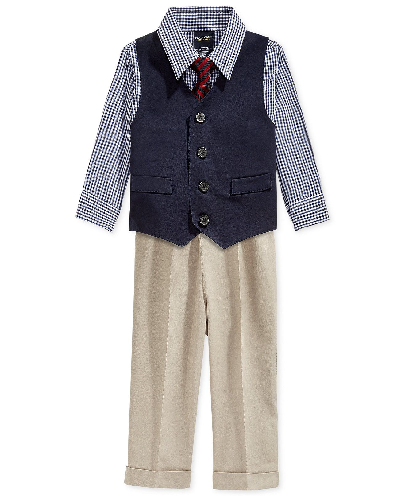 Nautica 4 Piece Vested Twill Suit Set Baby Boys
