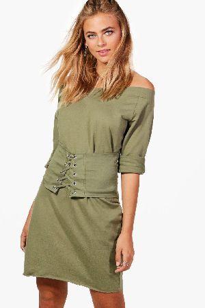 boohoo off shoulder corset sweat dress  khaki dzz44504