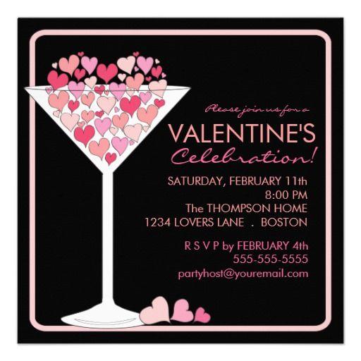U003du003eSale On Hearts Martini Valentines Day Party Invitation Hearts Martini Valentines  Day Party Invitation