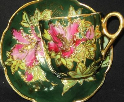 Antique Japan Green Gold Encrust Signed Pink RED Lily TEA CUP AND Saucer | eBay