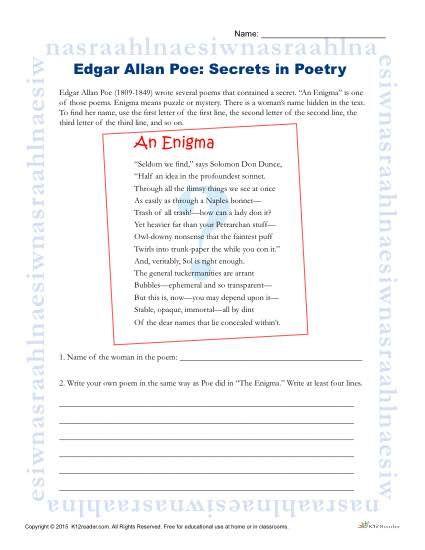 Edgar Allan Poe Reading Worksheet Secrets In Poetry Poetry Worksheets Poetry Analysis Worksheet Poetry Analysis 8th grade poetry worksheet