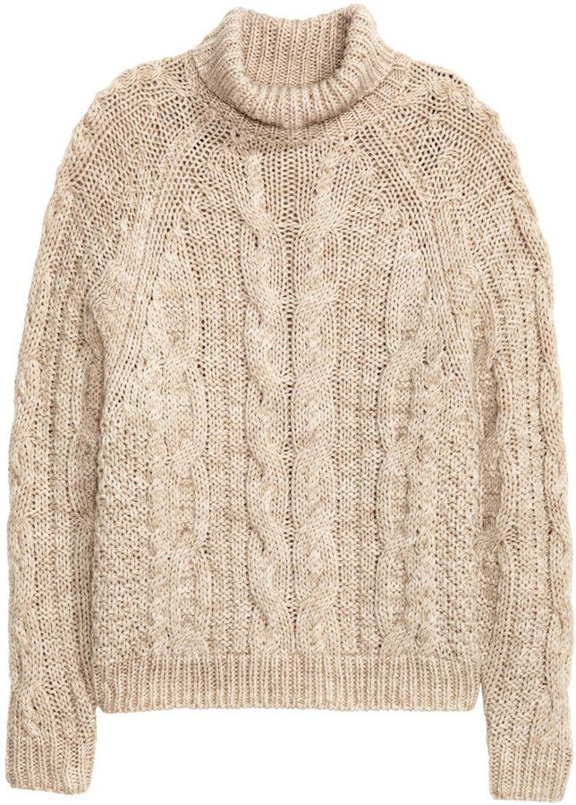 H&M - Cable-knit Turtleneck Sweater - Light beige melange - Ladies ...