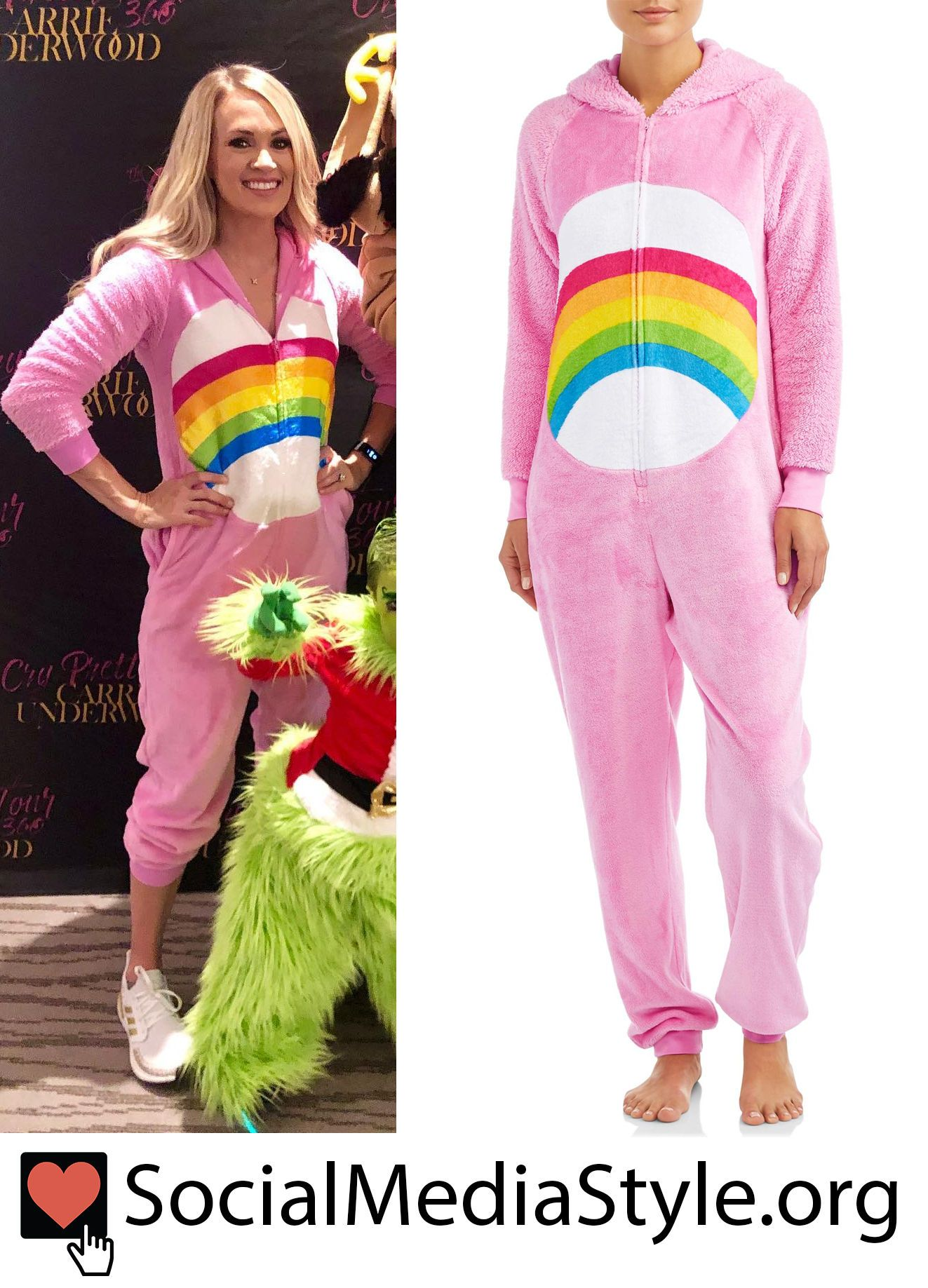 Buy Carrie Underwood's Care Bear onesie costume here! #CarrieUnderwood #CareBear #CareBearcostume #CareBearonesie #onesie #Halloween #carebearcostume