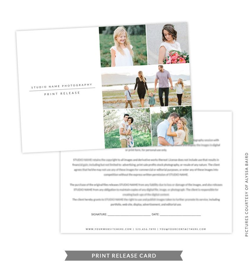 5x7 Print Release Form Template Gray Print Release Photography - legal release form template