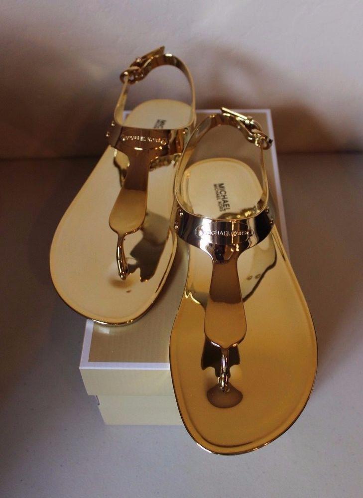 a758a79a3da Michael Michael Kors MK Plate Jelly Thong Sandal Gold Women s Size 8 NEW…