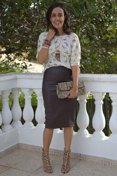 Discover This Look Wearing Dark Brown Leather Zara Skirts Camel Snakeskin Jessica Simpson Bags