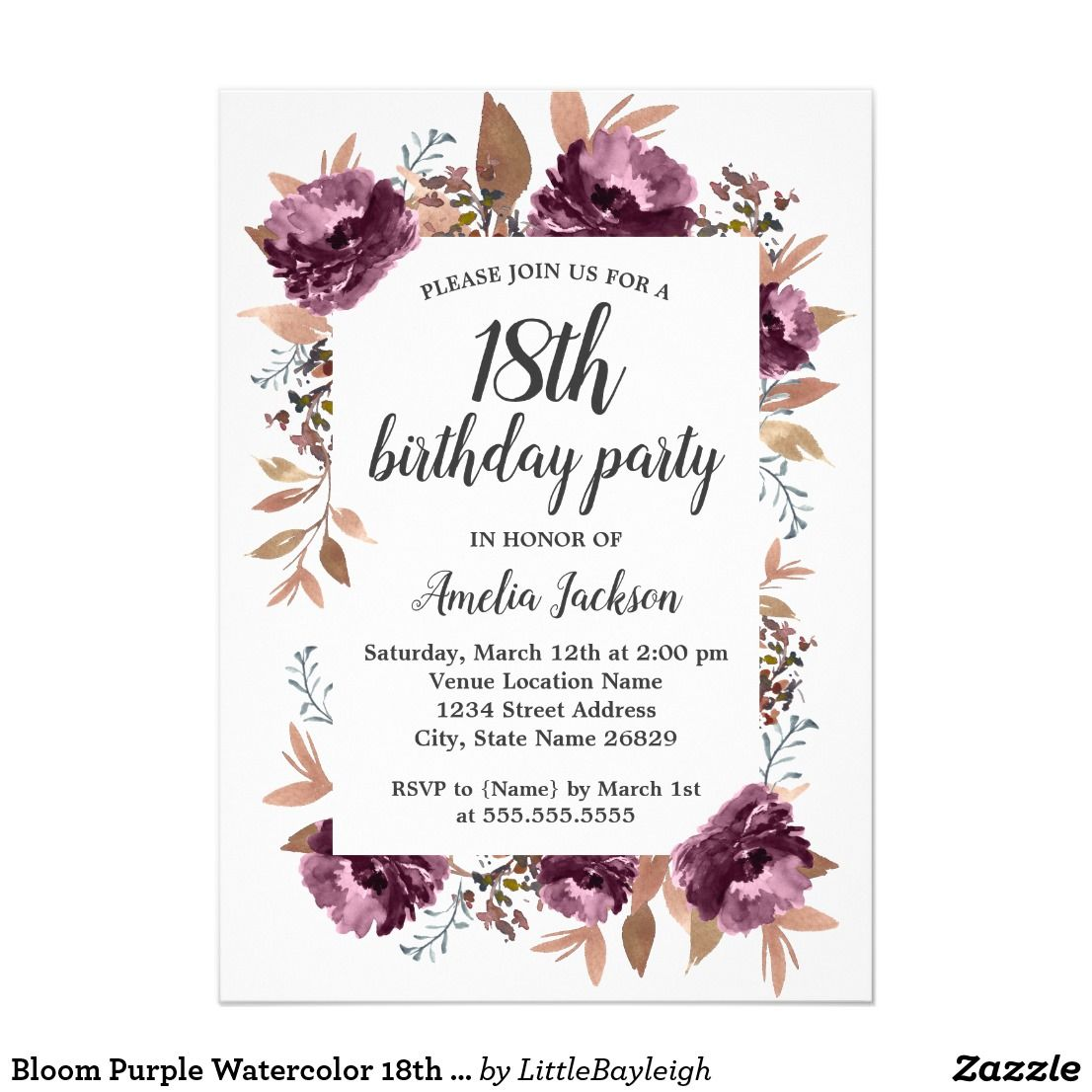 Bloom Purple Watercolor 18th Birthday Invitation