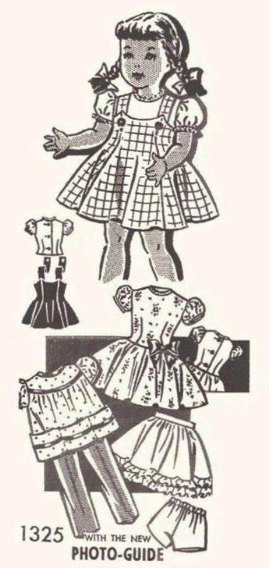 Vintage Doll Clothes Pattern 1325 ~ 14\