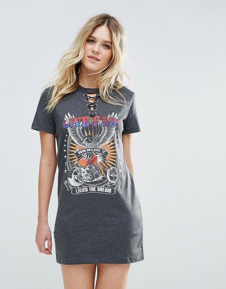 d42d2d64e84cb Brave Soul Graphic Band T-Shirt Dress - Gray   Products   Grey t ...