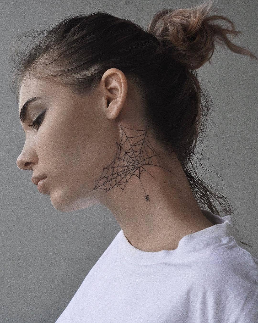 Spider Web Tattoo Neck Tattoos Women Web Tattoo Spider Web Tattoo