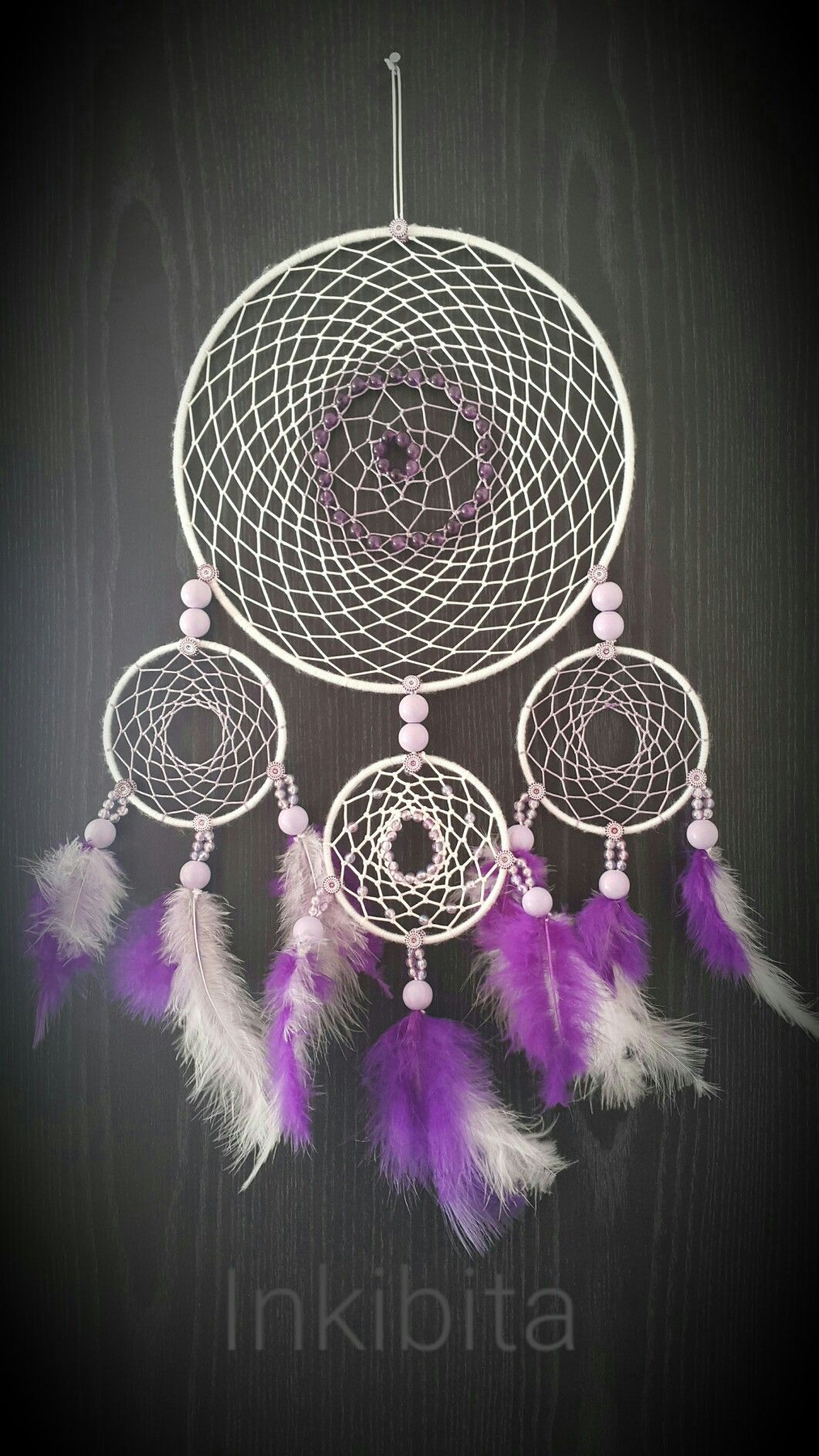 White And Violet Dreamcatcher With Ametysts By Inkibita