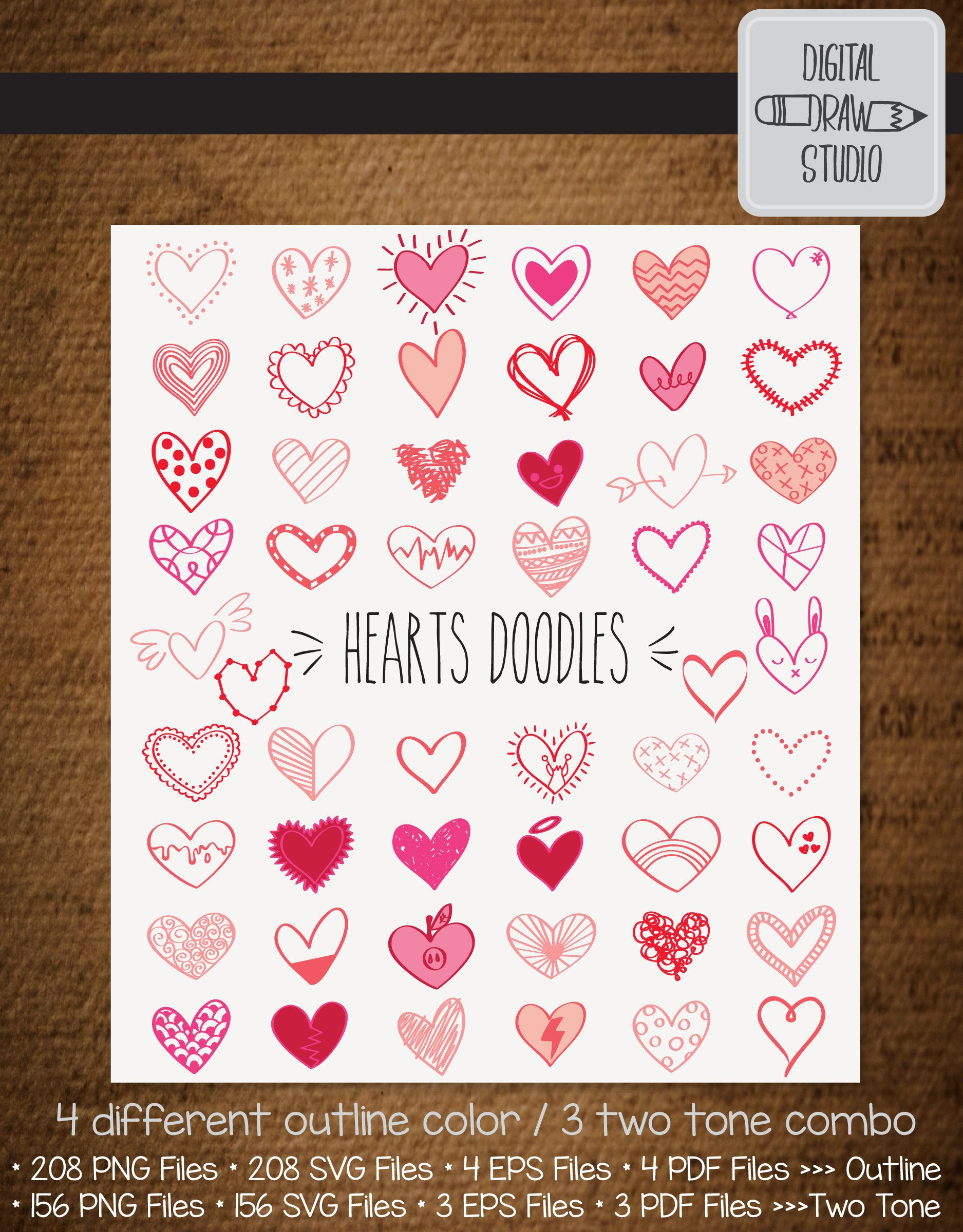 52 Colored Hearts Clip Art Bundle Hand Drawn Heart