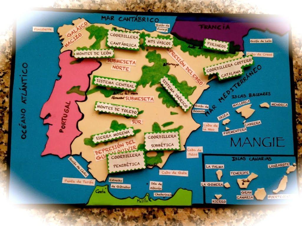 Mapa Físico De España Recurso Didáctico Artemangie Mapa Fisico De España Relieve España Mapa Fisico