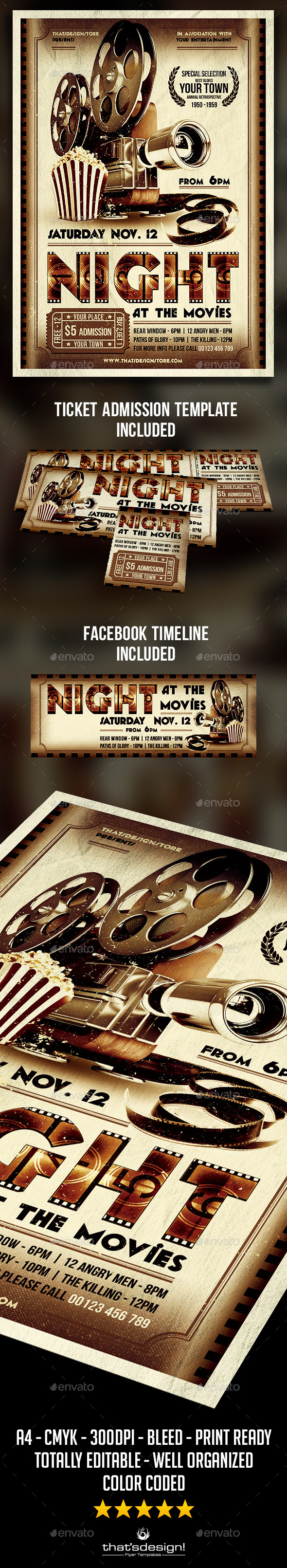 Night at the Movies Flyer Template | Flyers tickets, Flyer template ...