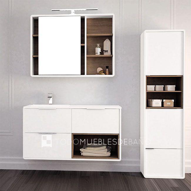 Mueble de ba o vintass de 3 cajones blanco mate caja nogal lavabo dream de 120x46cm con poza - Muebles de bano blanco mate ...