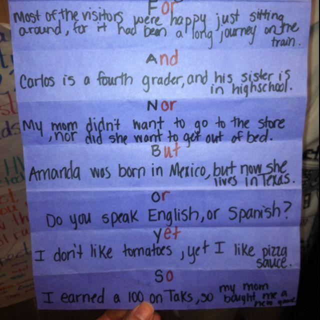 Fanboys Coordinating Conjunctions Great School Ideas Pinterest