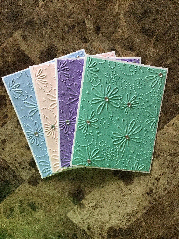 Teal Blue CARD SET Handstamped FLORAL Note Cards Set of 5