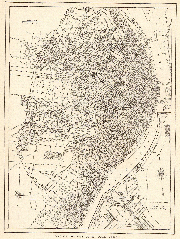 1921 Antique ST LOUIS MAP Vintage City Map of St Louis Black and ...