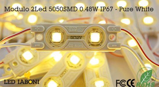 Pure White Modulo 2Led 5050SMD 0.48W IP67
