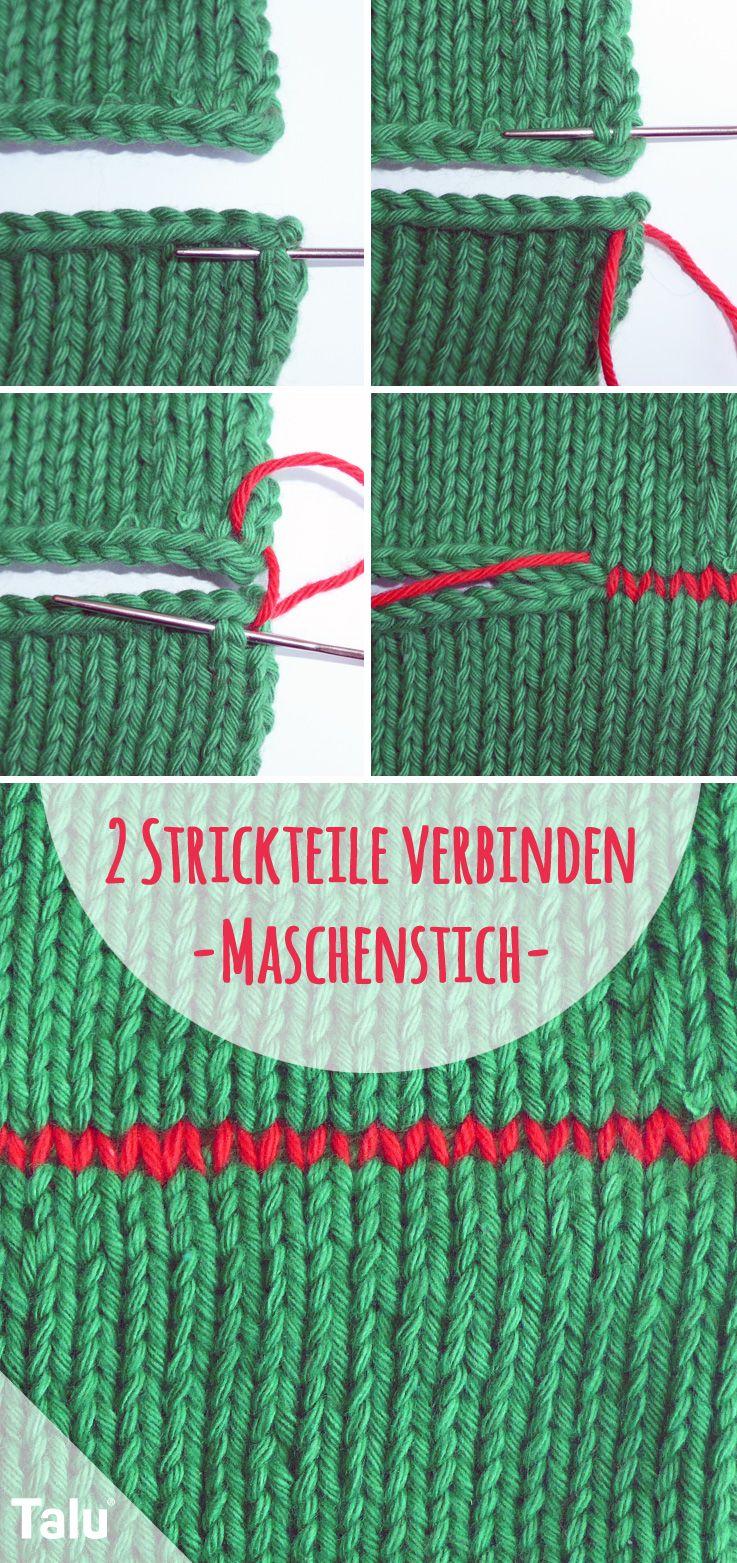 Zwei Strickteile verbinden - Maschenstich / Strickstich - Anleitung - Talu.de #loomknitting