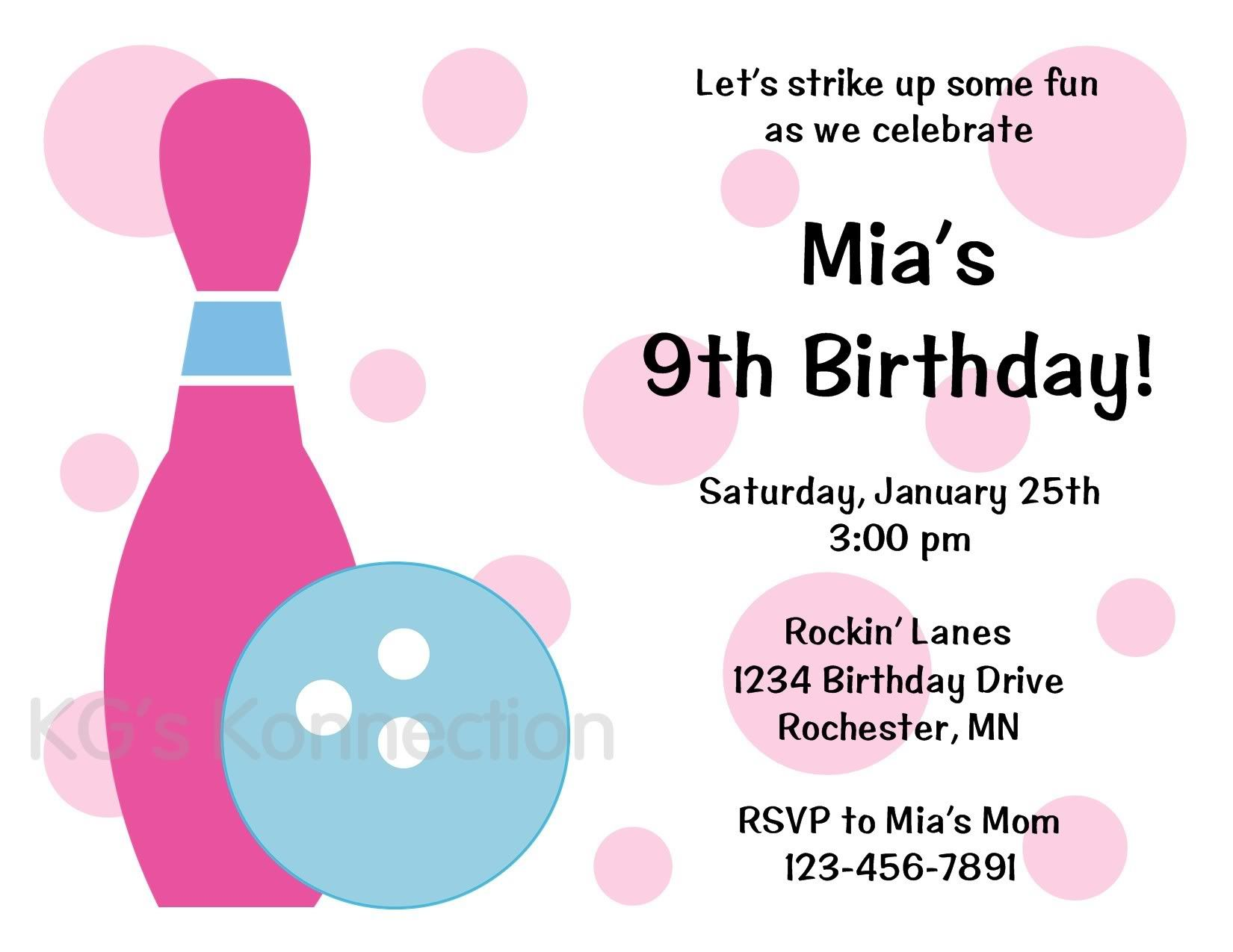 BOWLING Girl Birthday Party Invitations   invitations/party ideas ...