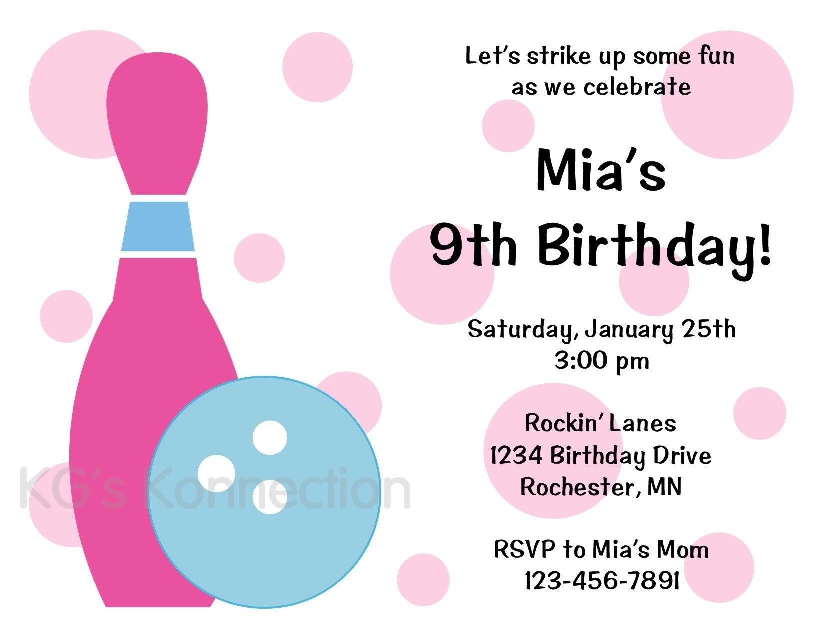 BOWLING Girl Birthday Party Invitations