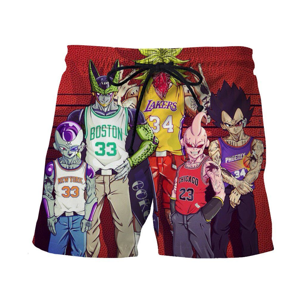 53d85f99b1 Dragon Ball Z Villains NBA Basketball Teams Wanted Casual Shorts ...