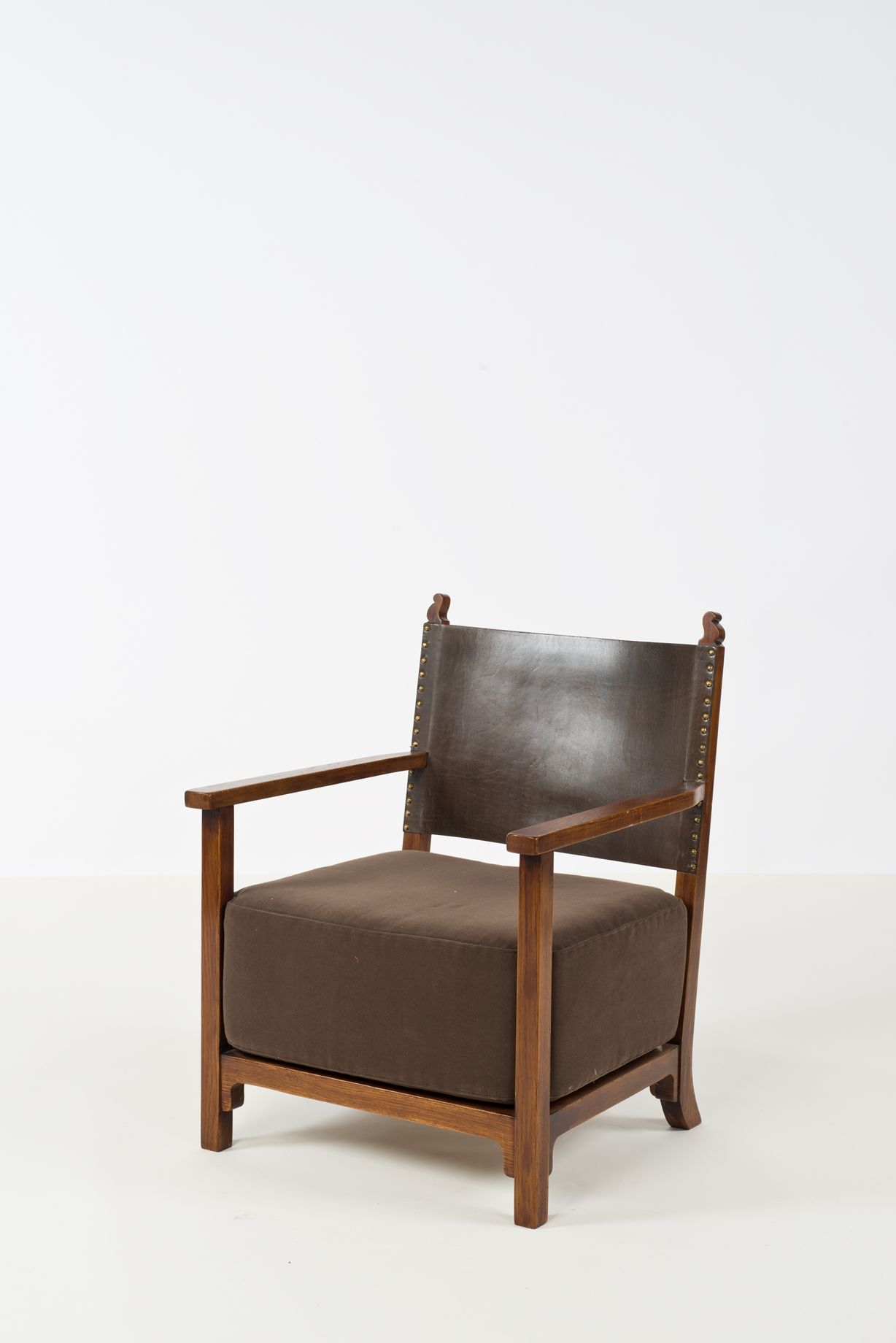 Adolf Loos Wood Leather And Brass Armchair For F O Schmidt  # Adolf Loos Muebles