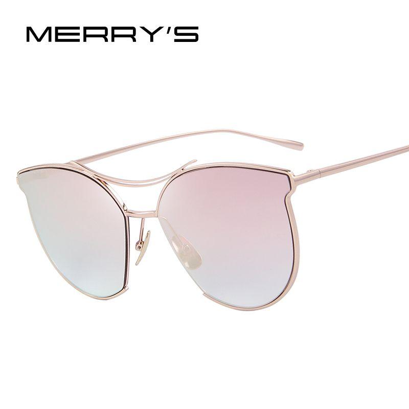d2085e802e53c Merry s النساء أزياء ماركة مصمم النظارات الشمسية الكلاسيكية خمر التوأم  الشعاع الإطار المعدني النظارات s 8014
