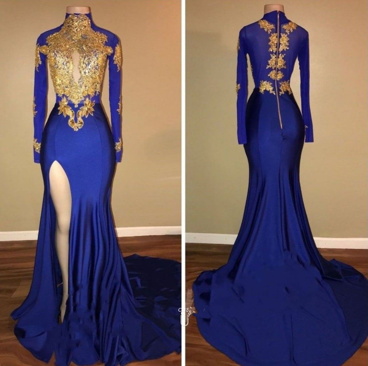 Long Sleeves Royal Blue Prom Dress with Gold Vestiditos