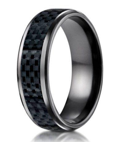 Mens Black Titanium Wedding Band with Carbon Fiber Inlay 8mm