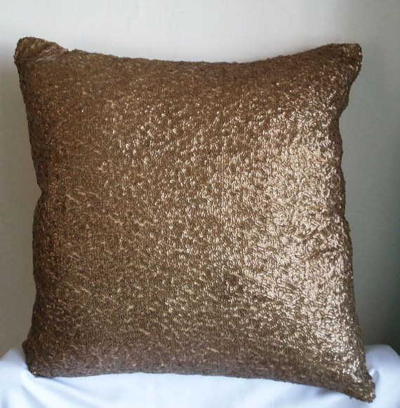 Decorative Gold Sequins Throw Pillow Cover 18x18 Antique Gold Sequins Throw  Pillows Cushion Cover, Accent Toss Sofa Pillows Sequins