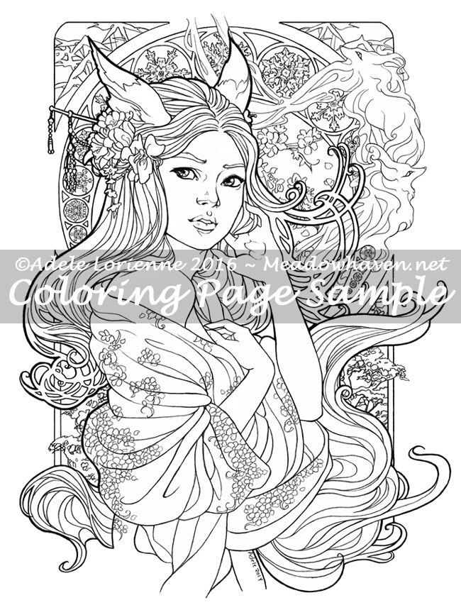 """Art of Meadowhaven Fantasy Coloring Page Download: """"Kitsune"""" by Meadowhaven on Etsy https://www.etsy.com/uk/listing/478051206/art-of-meadowhaven-fantasy-coloring-page"""