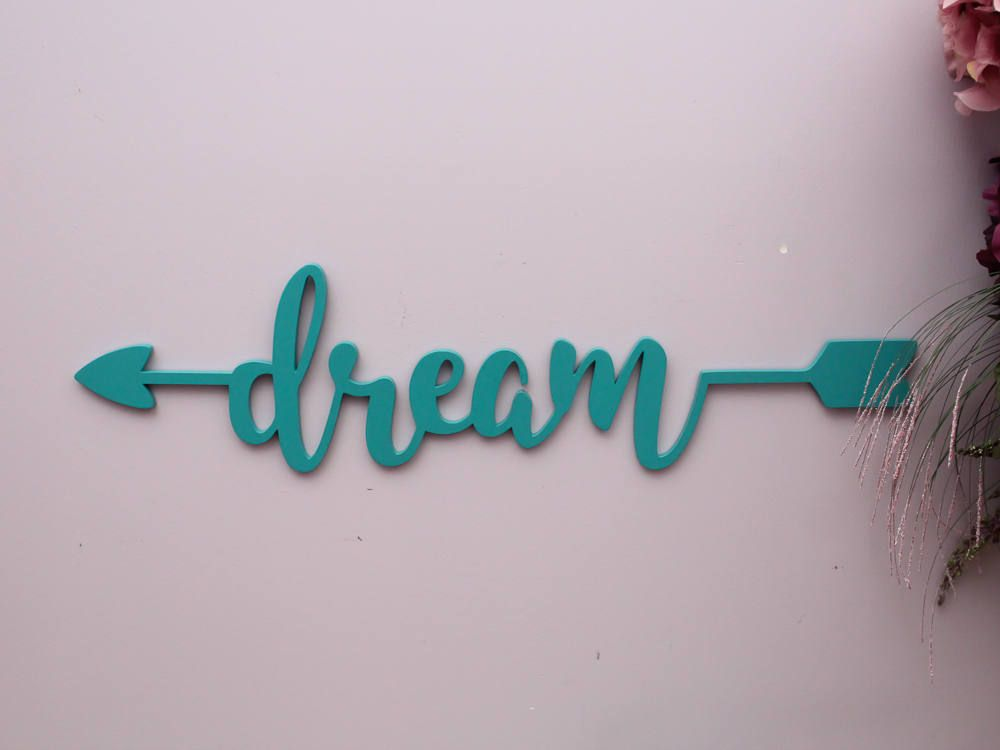 Gentil Dream Sign, Dream Wooden Arrow Sign, Dream Wall Decor, Wood Sign Art,